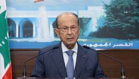 Lebanon's President Michel Aoun giving a televised address at the presidential palace in Baabda, eas