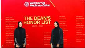 Twin sisters Alia (left) and Ghalya Ashkanani celebrate their inclusion on the WCM-Q Dean's Honour L