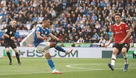 Leicester City's Youri Tielemans (centre) scores against Manchester United in Premier League yesterd