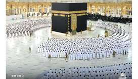 Worshipers perform Fajr prayer at the Grand Mosque in Makkah after the easing Covid-19 restrictions.