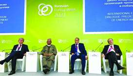Sentyurin (second right) and Barkindo (second left) at the Russian Energy Week (REW) in Moscow recen