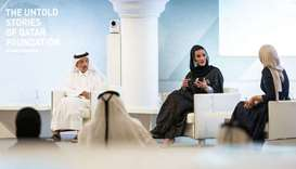 Sheikha Moza and Yousef Hussain Kamal during a special panel discussion aired on Qatar TV on Sunday