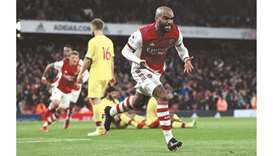 Arsenal's Alexandre Lacazette celebrates after scoring against Crystal Palace during the Premier Lea