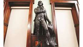 A statue of former US president Thomas Jefferson in the council chambers in City Hall after a vote t