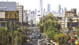 Traffic in the area of Dora at the northern entrance of Lebanon's capital Beirut. To fill a medium-s