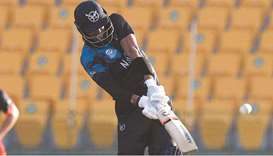 Namibia's David Wiese plays a shot during the ICC Twenty20 World Cup match against the Netherlands i
