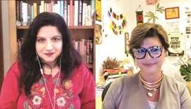 (From left) Rafia Zakaria discussed with Professor Banu Akdenizli the issues of inclusion in contemp
