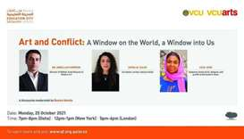 The online event will tackle the theme Art and Conflict: A Window on the World, A Window Into Us, wi
