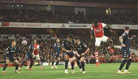 Arsenal's Thomas Partey (second right) scores against Aston Villa during the Premier League match in