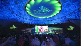 Prince Mohamed bin Salman delivers a speech during the opening ceremony of the Saudi Green Initiativ