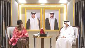 During the meeting, they reviewed co-operation ties between Qatar and the OIF and discussed issues o