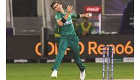 Pakistan's Shaheen Shah Afridi in action during the ICC men's Twenty20 World Cup match against India
