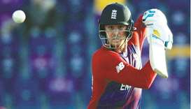 England's Jason Roy plays a shot against Bangladesh during the  ICC Men's T20 World Cup 2021 match a