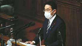 Japan's new PM Fumio Kishida delivers his first policy speech at parliament in Tokyo, yesterday.