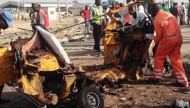 Wrecked remains of a vehicle ripped apart following two suicide bombings in Maiduguri.
