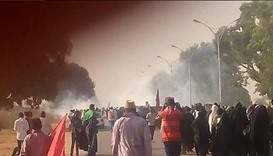 Teargas spreading from the location of clash. Picture posted in social media