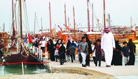 Dhows attract a large number of visitors during the opening of the festival. PICTURE: Jayaram