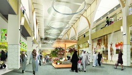 Architect's illustration of Doha Festival City's Market Place Corridor