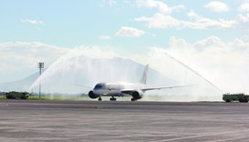 QR930 was greeted with water salute upon arrival at Clark International Airport.