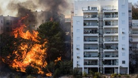 fire raging in the northern Israeli port city of Haifa