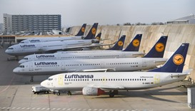Airplanes of German airline Lufthansa are parked  at the airport in Frankfurt am Main, western Germa