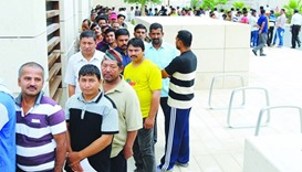 Workers queuing up at the medical camp venue. PICTURE: Ram Chand