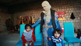 Displaced women and children from the minority Yazidi sect