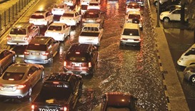 Traffic slows after heavy downpour