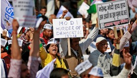 Central Delhi protest against  government's decision to withdraw 500 and 1000 Indian rupee banknotes