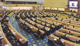 A general view of a meeting at Parliament House in Bangkok yesterday.