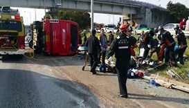 4 killed after bus flips over in S. Korea