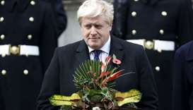 Britain's Foreign Secretary Boris Johnson participates in the Remembrance Sunday ceremony at the Cen