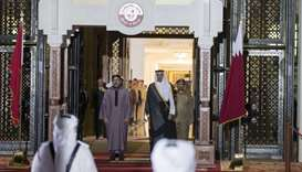 His Highness the Emir Sheikh Tamim bin Hamad al-Thani and King Mohamed VI of Morocco during the offi