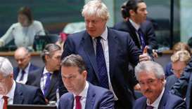 Britain's Foreign Secretary Boris Johnson attends an European Union foreign ministers' meeting in Br