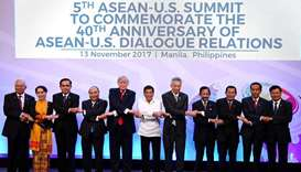 Leaders pose for a family photo during ASEAN-US 40th Anniversary commemorative Summit in Manila
