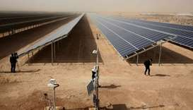 A general view shows part of a new 15 million euro solar plant, funded by the German government, tha