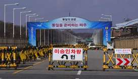 A barricade is set on the road leading to the truce village of Panmunjom at a South Korean military