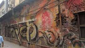 Graffiti over buildings from 17th c in Churiwalan in ShahJahanabad Delhi
