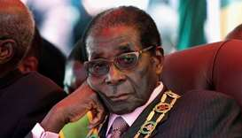Zimbabwe's President Robert Mugabe looks on during a rally marking Zimbabwe's 32nd independence anni