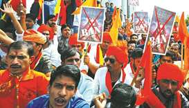 Demonstrators chant slogans as they protest against the release of Padmavati in Bengaluru yesterday.