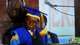 Mugabe speaks at a university graduation ceremony.
