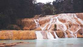 The 'Blue Water' river main waterfall, in Tumbala municipality, Chiapas state, Mexico.