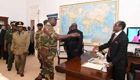 President Robert Mugabe meets with senior members of the Zimbabwe Defence Forces and police at State