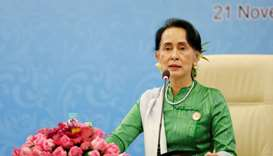 Myanmar State Counselor Aung San Suu Kyi speaks during a news conference at the Asia Europe Foreign