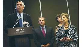 Senator Jeff Merkley addresses a news conference as Senator Dick Durbin, Congresswoman Betty McCollu