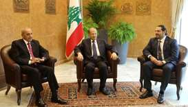 Lebanese President Michel Aoun meets with Saad al-Hariri, who announced his resignation as Lebanon's