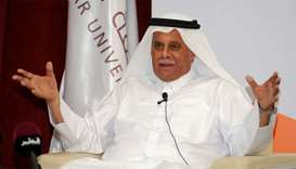 HE Abdullah bin Hamad al-Attiyah at the 'Distinguished Speakers Series' Qatar University College of
