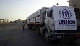 A truckload full of UNHCR aid in Yemen