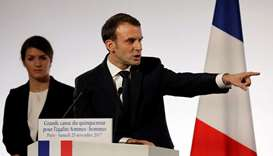 Macron delivers a speech during the International Day for the Elimination of Violence Against Women,