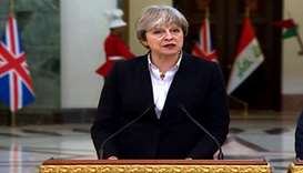 British PM May meets Iraqi PM Abadi in Baghdad